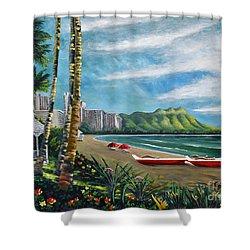 Diamond Head Waikiki Shower Curtain