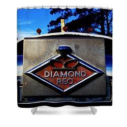 Shower Curtain featuring the photograph Diamond Reo Hood Ornament by Bartz Johnson