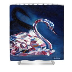 Shower Curtain featuring the painting Diamond Swarovski Swan by LaVonne Hand