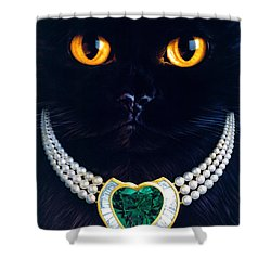 Diamonds Are A Cats Best Friend Shower Curtain by Andrew Farley