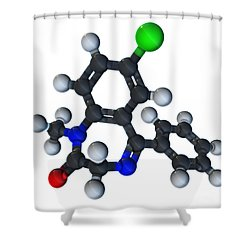 Diazepam Molecular Model Shower Curtain by Evan Oto