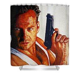 Die Hard Shower Curtain by Michael Haslam