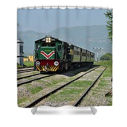 Shower Curtain featuring the photograph Diesel Electric Locomotive Speeds Past Student by Imran Ahmed