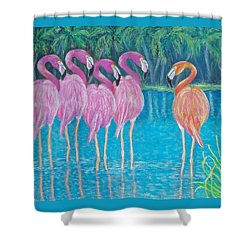 Shower Curtain featuring the painting Different But Alike by Susan DeLain