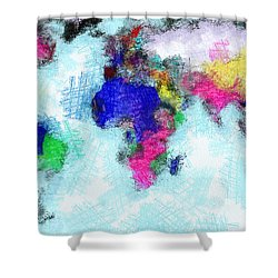 Digital Art Map Of The World Shower Curtain