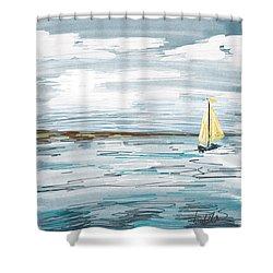 Digital Seascape In Blue Shower Curtain