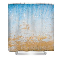 Dilapidated Beige And Blue Wall Texture Shower Curtain