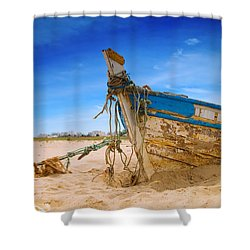 Dilapidated Boat At Ferragudo Beach Algarve Portugal Shower Curtain by Amanda Elwell