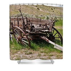 Dilapidated Wagon With Leaning Wheels Shower Curtain by Sue Smith