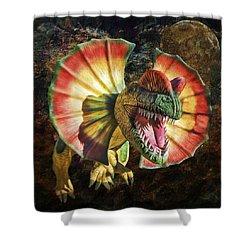 Dilophosaurus Spitting Dinosaur Shower Curtain