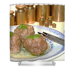 Shower Curtain featuring the photograph Dim Sum - Beef Balls by Katy Mei