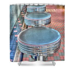 Diner Stools Shower Curtain by Kathleen Struckle