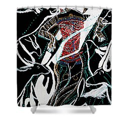 Shower Curtain featuring the painting Dinka Dance by Gloria Ssali