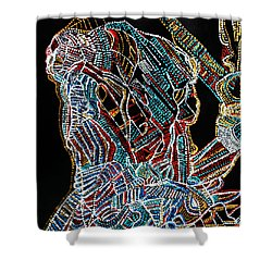 Shower Curtain featuring the painting Dinka Warrior by Gloria Ssali
