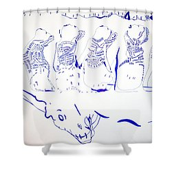 Dinka Wise Virgins -south Sudan Shower Curtain by Gloria Ssali