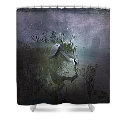 Dinner Alone Shower Curtain by Kylie Sabra