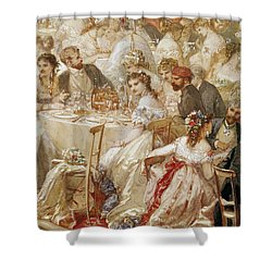 Dinner At The Tuileries, 1867 Wc On Paper Detail Of 182992 Shower Curtain by Henri Baron