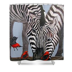 Shower Curtain featuring the painting Dinner Guests by Karen Ilari