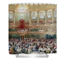 Dinner In The Salle Des Spectacles At Versailles Shower Curtain by Eugene-Louis Lami