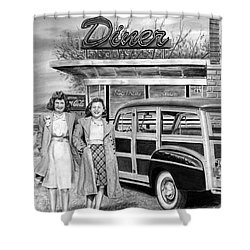 Dinner With The Girls Shower Curtain by Peter Piatt