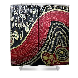 Dipped In Gold Diptich Shower Curtain