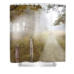 Dirt Road In Fog Shower Curtain