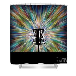 Disc Golf Basket Silhouette Shower Curtain
