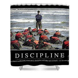 Shower Curtain featuring the photograph Discipline Inspirational Quote by Stocktrek Images
