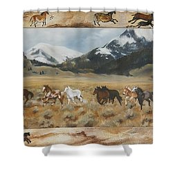 Shower Curtain featuring the painting Discovery Horses Framed by Lori Brackett