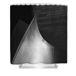 Disney Hall Abstract Black And White Shower Curtain by Rona Black