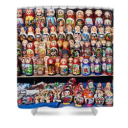 Display Of The Russian Nesting Dolls Shower Curtain by Panoramic Images