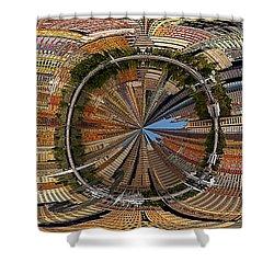 Distorted Lower Manhattan Shower Curtain by Susan Candelario