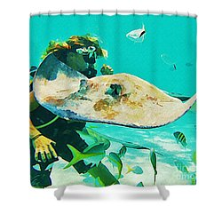 Diver And Stingray Shower Curtain by John Malone