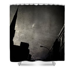 Divided  By Belief  Shower Curtain by Empty Wall