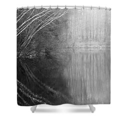 Divided By Nature Bw Shower Curtain by Karol Livote