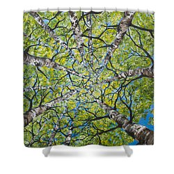Shower Curtain featuring the painting Dizzy Aspens by Melinda Cummings