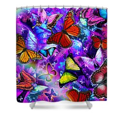 Dizzy Colored Butterfly Explosion Shower Curtain by Alixandra Mullins