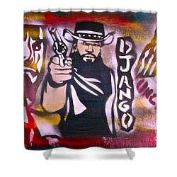 Django Blood Red Shower Curtain by Tony B Conscious