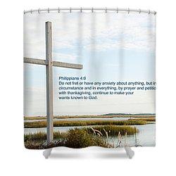 Belin Church Cross At Murrells Inlet With Bible Verse Shower Curtain by Vizual Studio