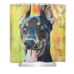 Doberman Shower Curtain by PainterArtist FIN