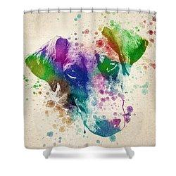 Doberman Splash Shower Curtain by Aged Pixel