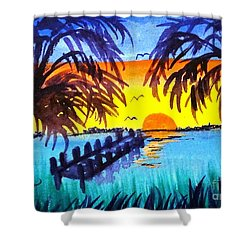 Dock At Sunset Shower Curtain by Ecinja Art Works