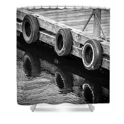 Dock Bumpers Shower Curtain by Melinda Ledsome