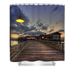 Dock Lights At Jekyll Island Shower Curtain by Debra and Dave Vanderlaan
