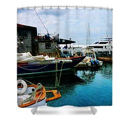 Shower Curtain featuring the photograph Docked Boats In Newport Ri by Susan Savad