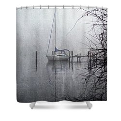 Docked In The Fog - Texture Effect Shower Curtain by Brian Wallace