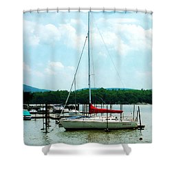 Docked On The Hudson River Shower Curtain by Susan Savad