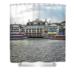 Docking At The Boardwalk Walt Disney World Shower Curtain