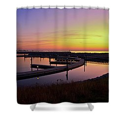 Docks At Sunrise Shower Curtain by Jonah  Anderson