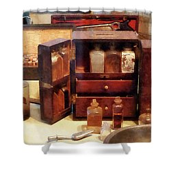 Shower Curtain featuring the photograph Doctor - Case With Medicine Bottles by Susan Savad